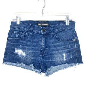 Express Distressed Cut Off Jean Denim Shorts